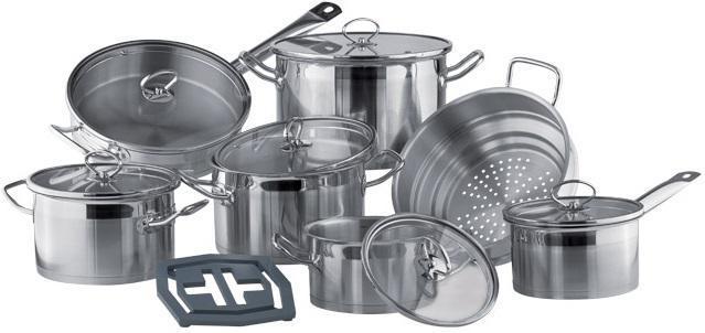 Набор посуды Vinzer Universum 14 предметов нержавейка, Набор посуды из нержавеющей стали, Кухонный набор