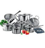 Набор посуды Vinzer Universum 14 предметов нержавейка, Набор посуды из нержавеющей стали, Кухонный набор, фото 5