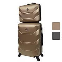 Комплект чемодан на колесах с кейсом Bonro 2019 небольшой (маленький) набор дорожный Шампань