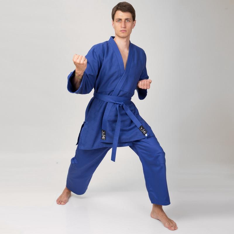 Кимоно для дзюдо синее Matsa MA-0015 (хлопок, размер 0-6 (130-190 см), плотность 450 г/м2)