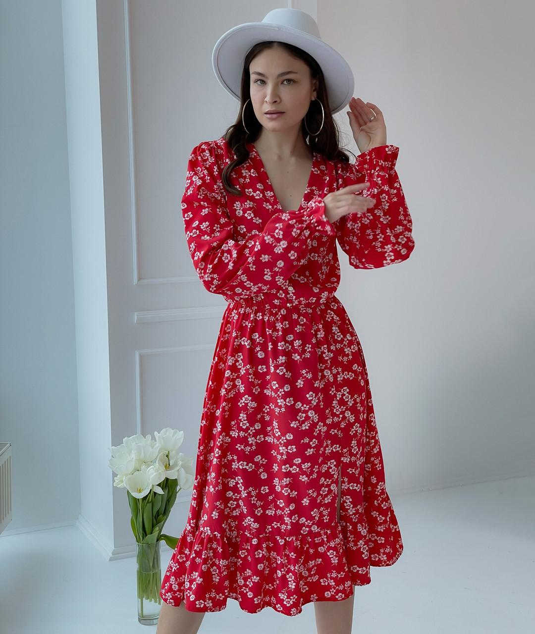 Элегантное платье длины миди в цветочек с воланом