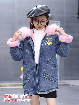 Куртка джинсовая для девочки демисезонная с натуральной опушкой