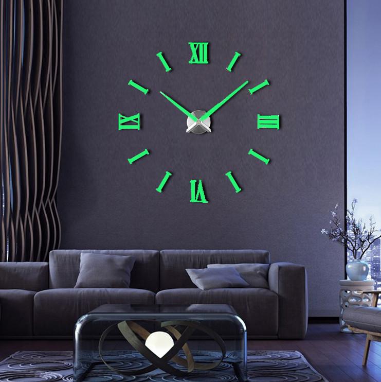 Большие настенные 3Д часы Люминесцентные ( от 70 до 150 см)