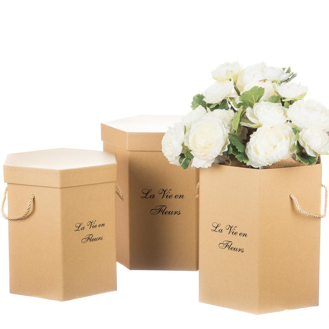 """Коробка для квітів набір 3 шт. """"La vie en fleurs"""" бежеві"""