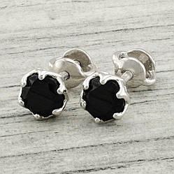 Серебряные серьги гвоздики ps20332e черные фианиты  размер 6х6 мм вес 1.2 г