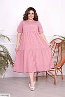 Комфортное повседневное софтовое легкое платье свободного кроя в горошек Размер: 50-54, 56-60 арт. 3358, фото 1