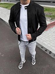 Мужской бомбер осенний молодежный (черный) легкая куртка на молнии sc62