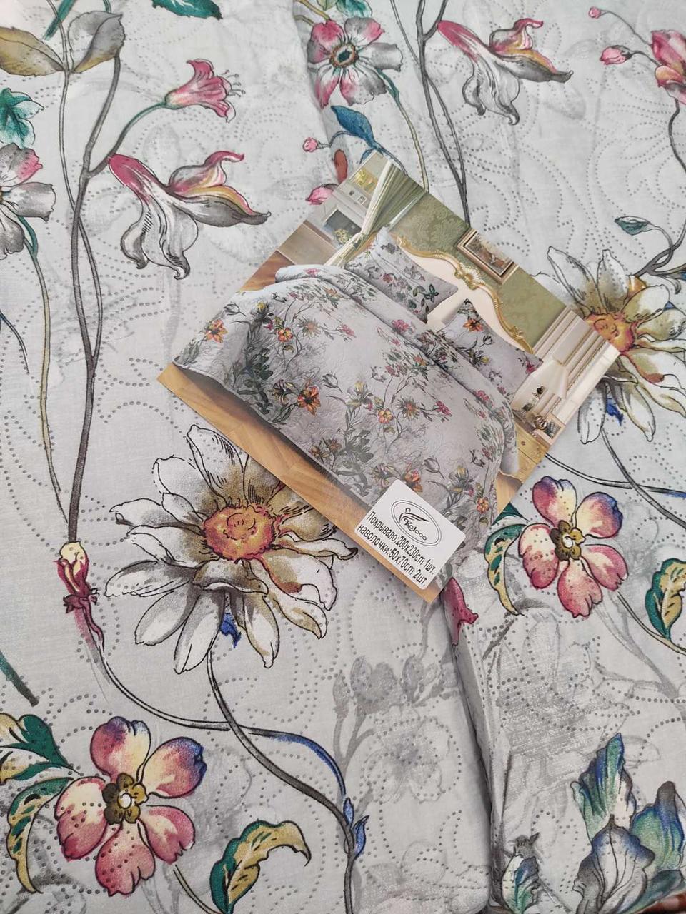 Летнее одеяло покрывало плед на кровать хлопок принт Цветы евро размер 200х230 см 2 наволочки 50х70 см Турция