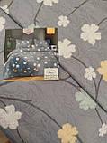 Летнее одеяло покрывало плед на кровать хлопок принт Цветы евро размер 200х230 см 2 наволочки 50х70 см Турция, фото 10