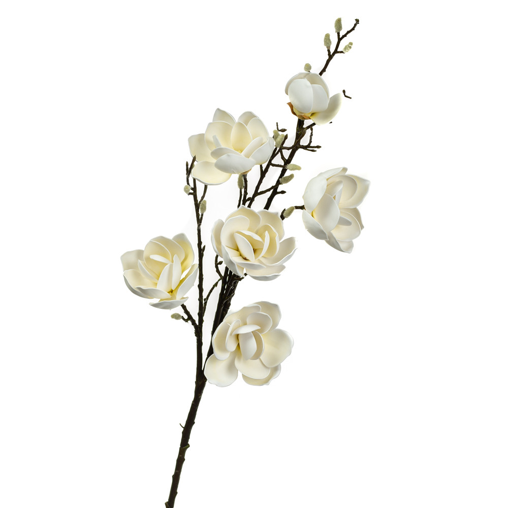 Ветка цветущей магнолии 126 см, белая