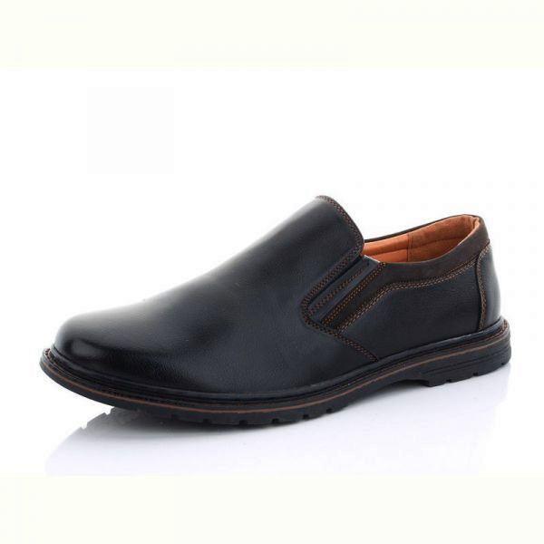 Чоловічі туфлі чорного кольору з гумкою без шнурків великого розміру
