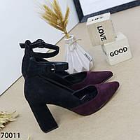 Жіночі туфлі з гострим носком бордо, фото 1