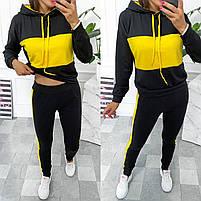 Жіночий двоколірний спортивний костюм з двухнити з капюшоном (Норма і батал), фото 6