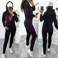 Жіночий двоколірний спортивний костюм з двухнити з капюшоном (Норма і батал), фото 9