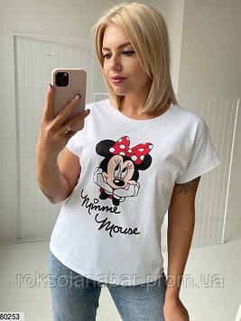 Футболка однотонна жіноча молодіжна біла Minnie Mouse