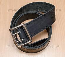 Ремень офицерский черный кожаный (пряжка никель)