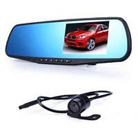 Автомобільний відеореєстратор DVR 138W 2 камери FULL HD екран 4.3 дзеркало реєстратор, фото 1