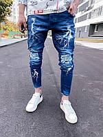 Мужские джинсы зауженные книзу (синие) крутые рваные с прикольным принтом молнии sp920