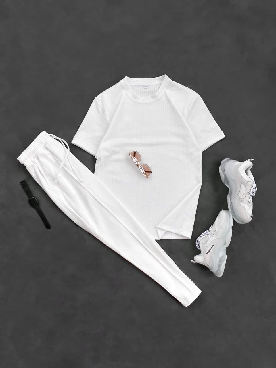 Чоловічий комплект штани + футболка (білий) крутий в смужку на літо sk87