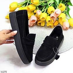 Модные повседневные замшевые черные женские мокасины лоферы натуральная замша