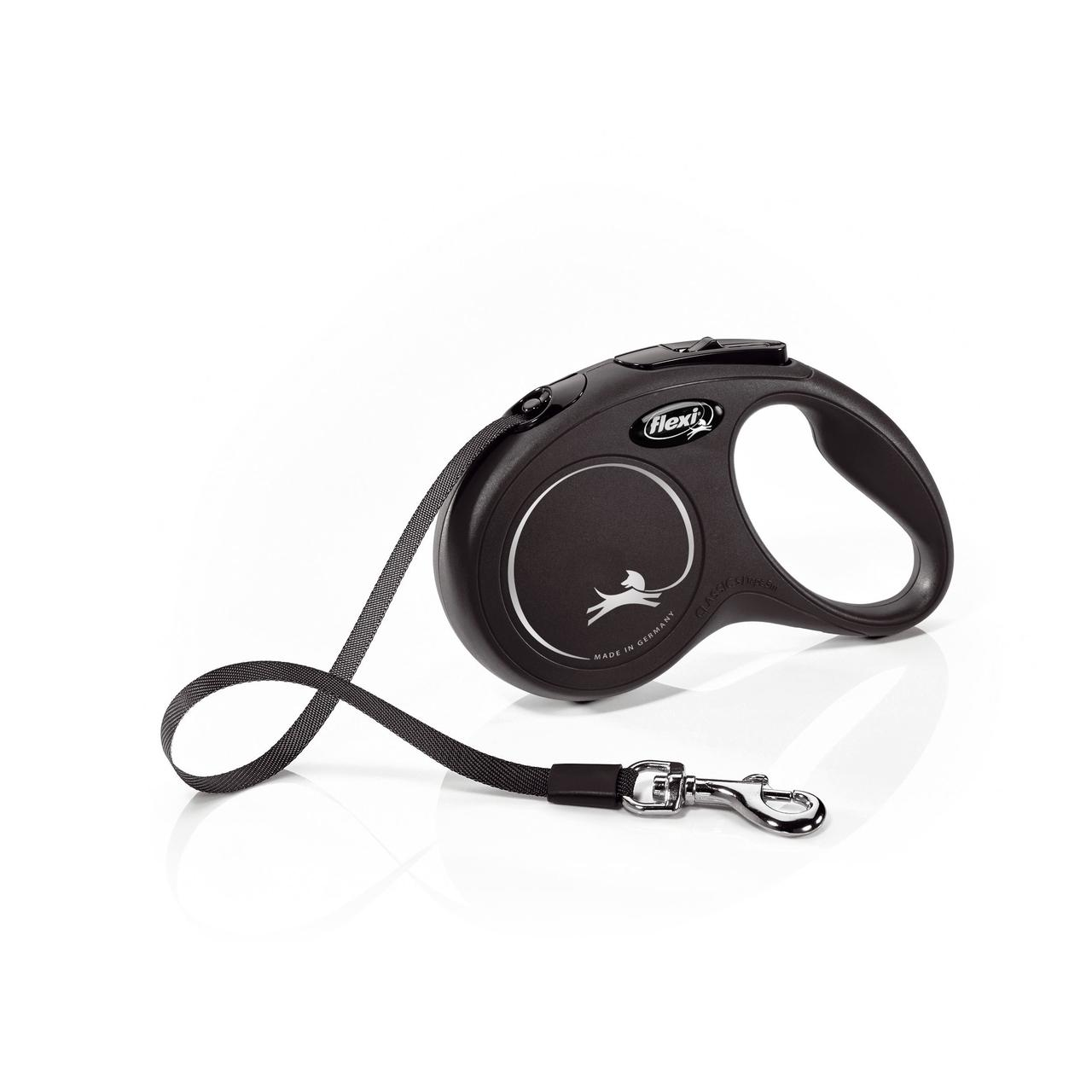 Поводок-рулетка Flexi зі стрічкою New Classic S 5 м / 15 кг чорна