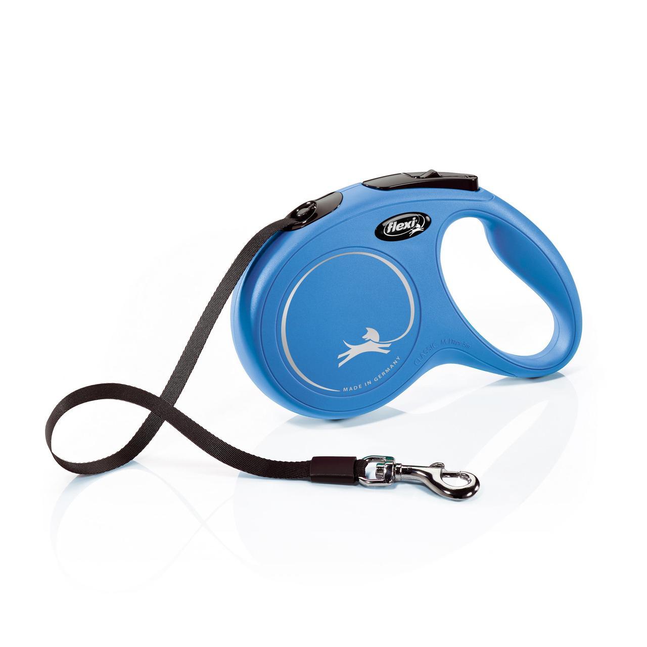 Поводок-рулетка Flexi с лентой New Classic M 5 м / 25 кг синяя