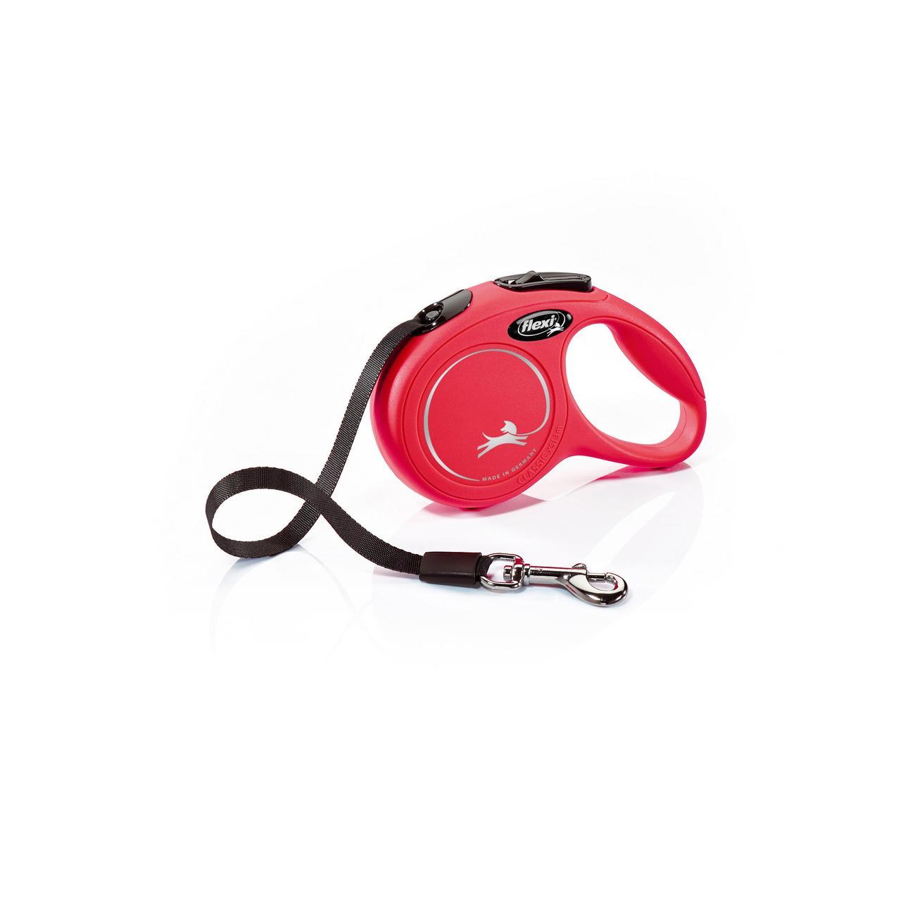 Поводок-рулетка Flexi зі стрічкою New Classic XS 3 м / 12 кг червона