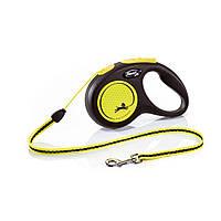 Поводок-рулетка Flexi з тросом New Neon S 5 м / 12 кг жовта