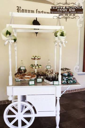 Кэнди бар свадебный (Candy bar) на тележке по французским мотивам