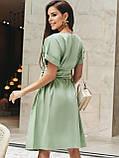 Однотонне плаття з бавовни з коротким рукавом, фото 4