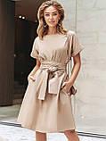 Однотонне плаття з бавовни з коротким рукавом, фото 5