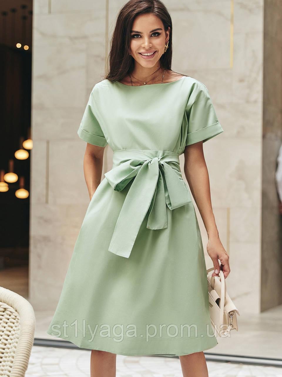 Однотонне плаття з бавовни з коротким рукавом