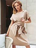 Однотонне плаття з бавовни з коротким рукавом, фото 6