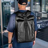 Роллтоп рюкзак кожаный мужской черный Sirius, Rolltop городской