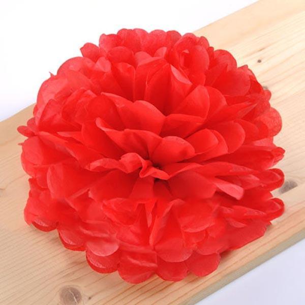 Помпон бумажный красный диаметр 20см