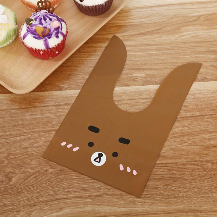 Пакеты детские  полиэтиленовые с ушками  Мишка  шоколадный 21х 13 см 10 шт