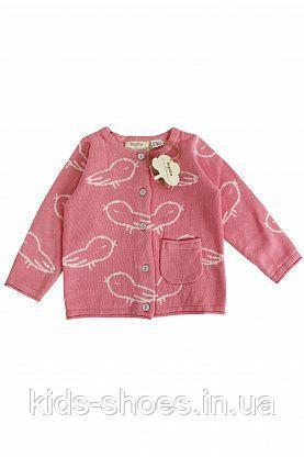 Детский вязаный кардиган кофта 0-80 Lupilu розовая с птицами