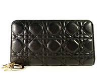 Кошелек кожаный на молнии  Dior черный  в наличии