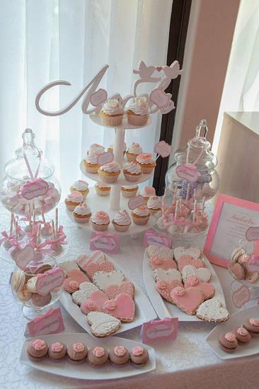 Свадебный Кенди бар Candy Bar в розовых тонах