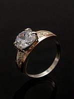 Кольцо серебряное 925 пробы с золотой вставкой