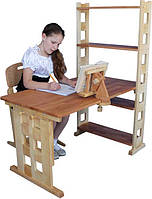 Детский деревянный письменный стол из дерева с полками 105см