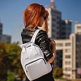 Женский белый рюкзак, сумка из кожи PU. Стильный и удобный, фото 5