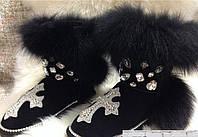 Женские UGG с опушкой из меха песца. Декор-стразы,камни. Размер 36- 40. АБ 1624