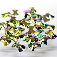Пришивные камни(синтетич.стекло).Форма Бантик 16х11,5мм.Цвет Crystal AB(хамелеон).Цена за 1шт