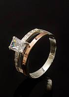 Кольцо серебряное 925 пробы с золотой напайкой