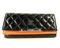 Кошелек женский кожаный Chanel 518 черный/оранжевый