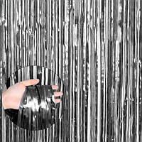 Шторка занавес из фольги сатин графит 1х2 метра