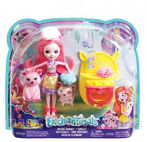 Лялька Энчантималс Петі Піг і друзі Стрейсел і Найша Випічка друзям Enchantimals Baking Buddies