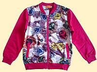 Бомбер детский для девочки, ярко-розовый, 3D рисунок