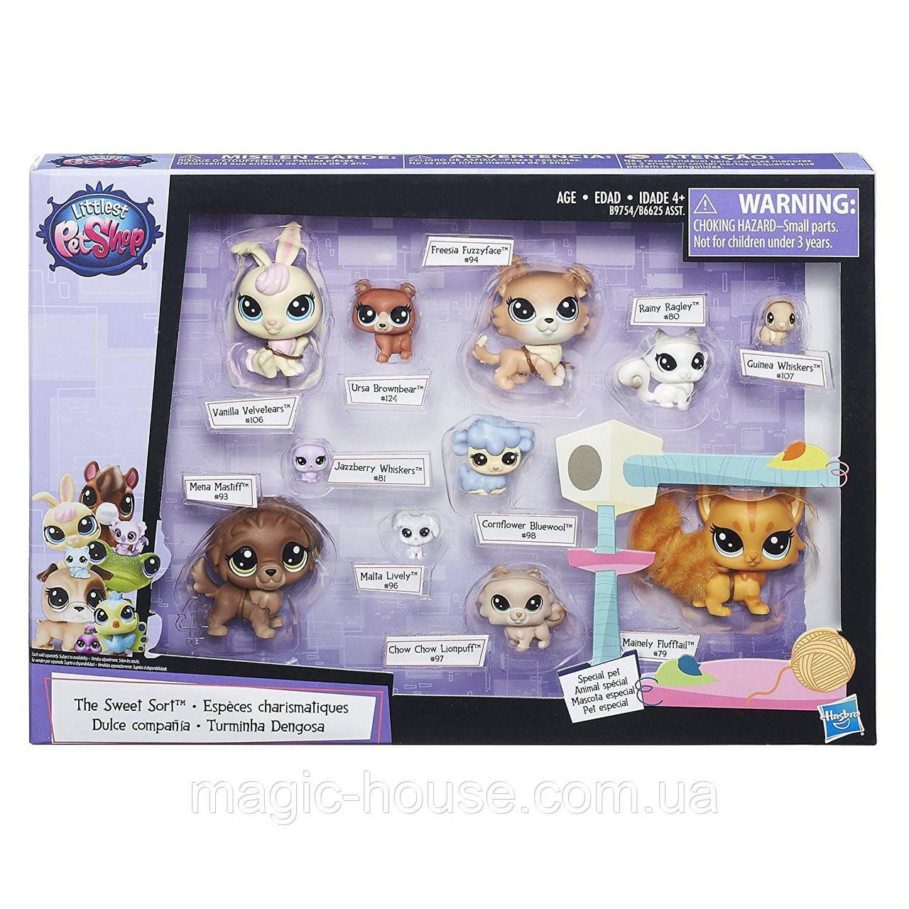 Littlest Pet Shop Маленький зоомагазин набор 11 зверюшек с котиком The Sweet Sort